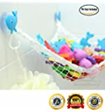 MiniOwls Bathtub Toy Storage Hammock - with 3 Blue Whale Suction Cups & FREE Toothbrush Holder - 3% donation to Autism Foundation. (blue)