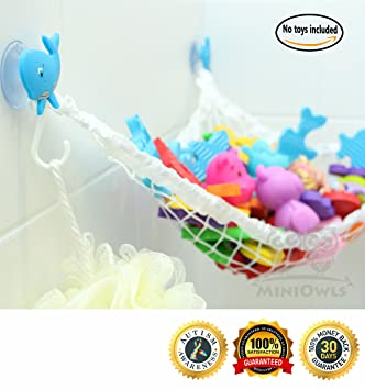 Medium image of miniowls bathtub toy storage hammock   with 3 blue whale suction cups  u0026 free toothbrush holder