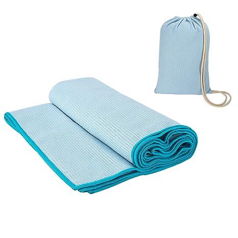 Esterilla yoga profesional Cobertura para colchoneta de yoga toalla de micro-fibra antideslizante con bolsa de viaje de 190 x 68 cm - Azul claro