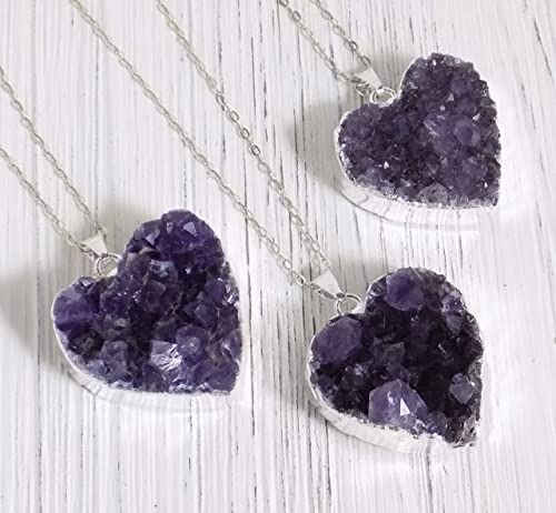 No Stress Sterling Silver Wrapped Druzy Amethyst Spirit Crystal Cluster Pendant Necklace