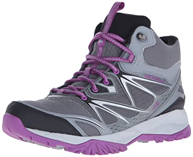 Merrell Women's Capra Bolt Mid Waterproof Hiking Boot, Grey/Purple, ...