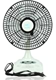 """Akari Ak-8008 8"""" Rechargeable Ac/Dc Table Fan With Led Light, Solar Charging,White"""