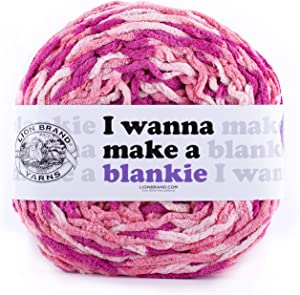 Lion Brand Yarn Wanna Make a Blankie Yarn, Zinnia