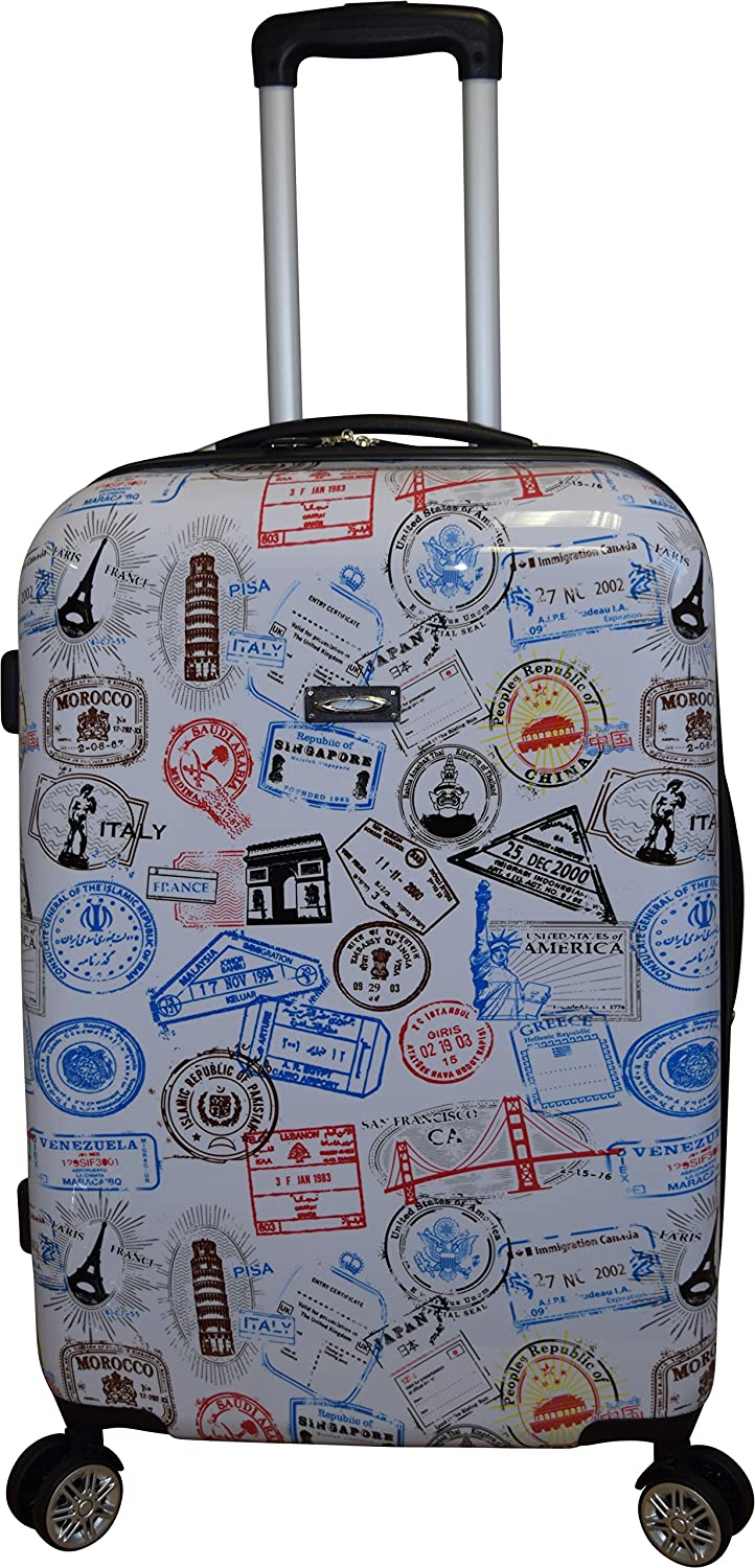 Kemyer 788 Vintage Series 20 Lightweight Expandable Spinner Luggage Silver Stamps