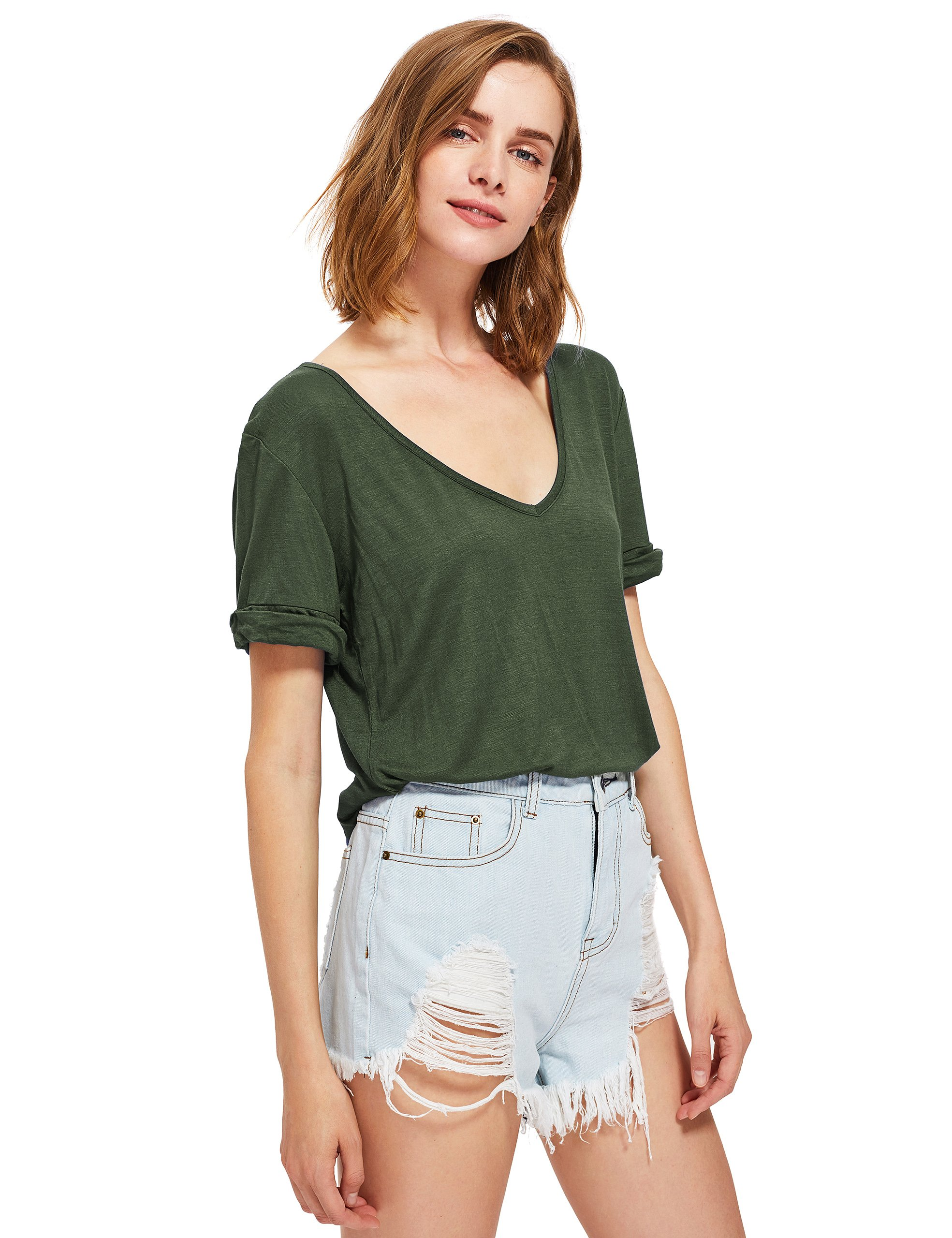 SheIn Women's Summer Short Sleeve Loose Casual Tee T-Shirt