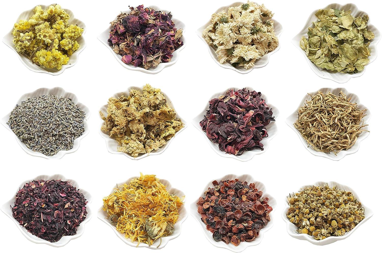 PEPPERLONELY 12 Packs Organic Kosher Certified Botanical Dried Edible Flowers & Herbs Sampler Kit - Lavender, Rose Buds & Petals, Chamomile, Calendula, etc