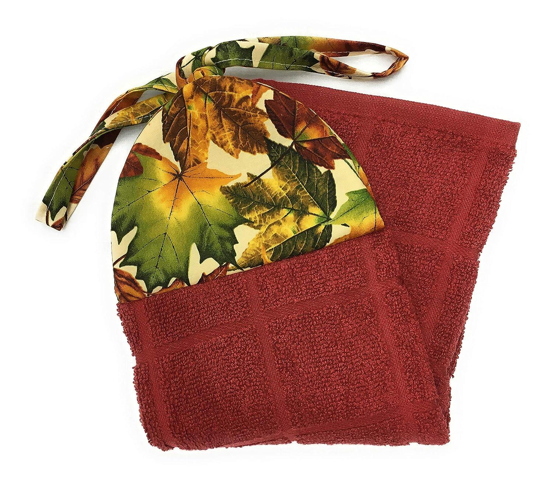 Fall Autumn Maple Harvest Leaves on Cream Ties On Stays Put Kitchen Hanging Loop Hand Dish Towel