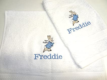 Personalizado Beatrix Potter – Peter Rabbit – Juego de toalla de mano y toalla para la