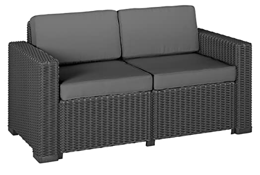 Lounge sofa outdoor günstig  Allibert California 212366 2-Seater Lounge Sofa Rattan-Effect ...