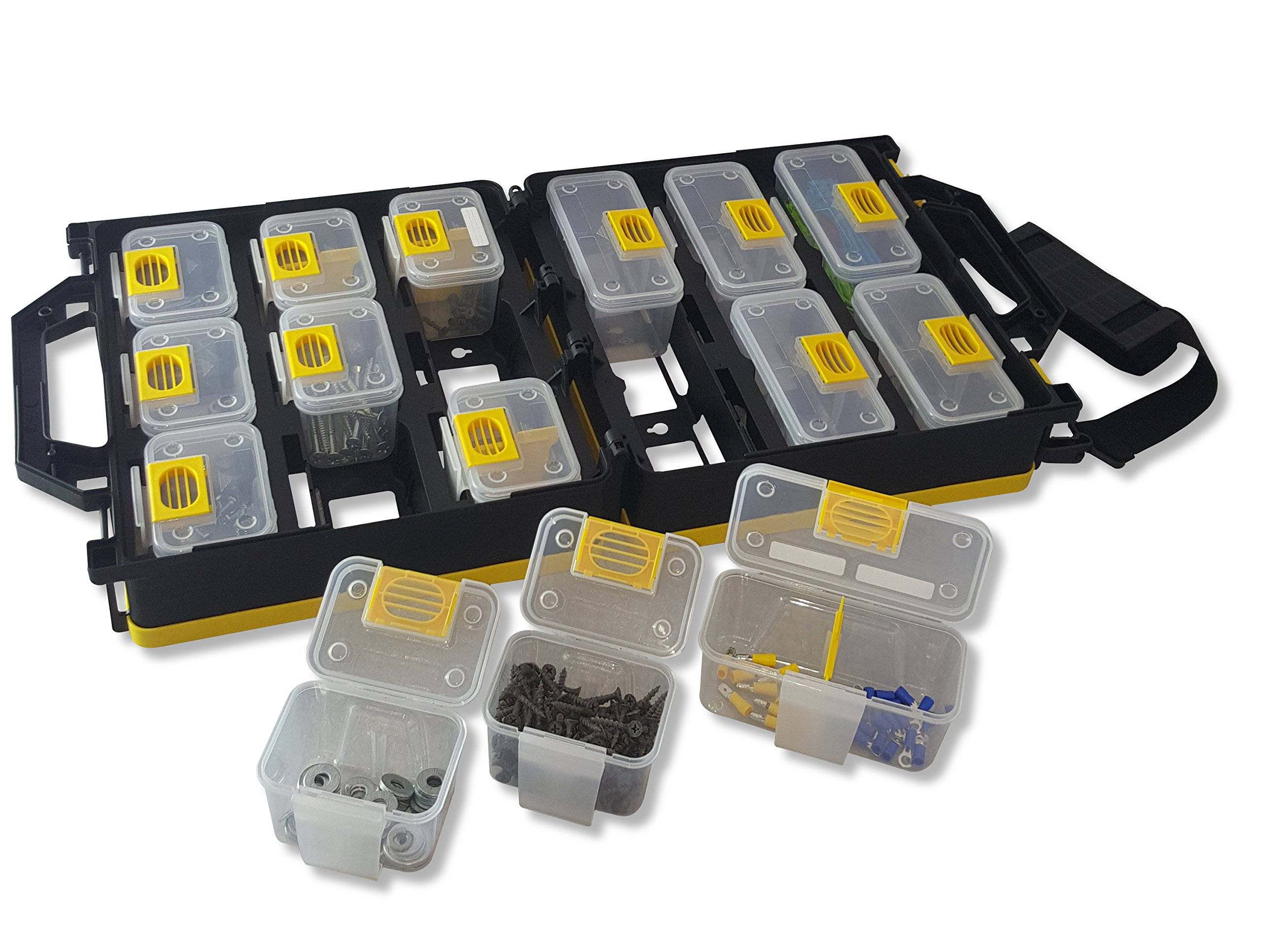 WorkVanEquipment Mobile Hardware Case Tackle Box with Removable Compartment Organizer and Shoulder Strap - US Patented by Work Van Equipment