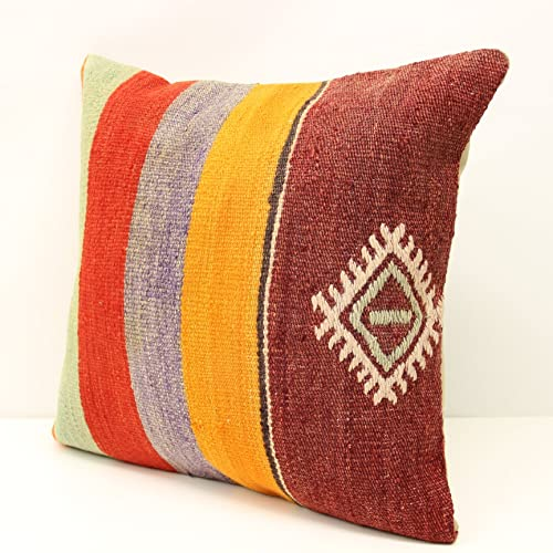 Kilim Pillow 16x16inch 40x40cm Vintage Kilim Pillow Kilim Cushion Bohemian Pillow Handwoven Pillow Cushion Cover