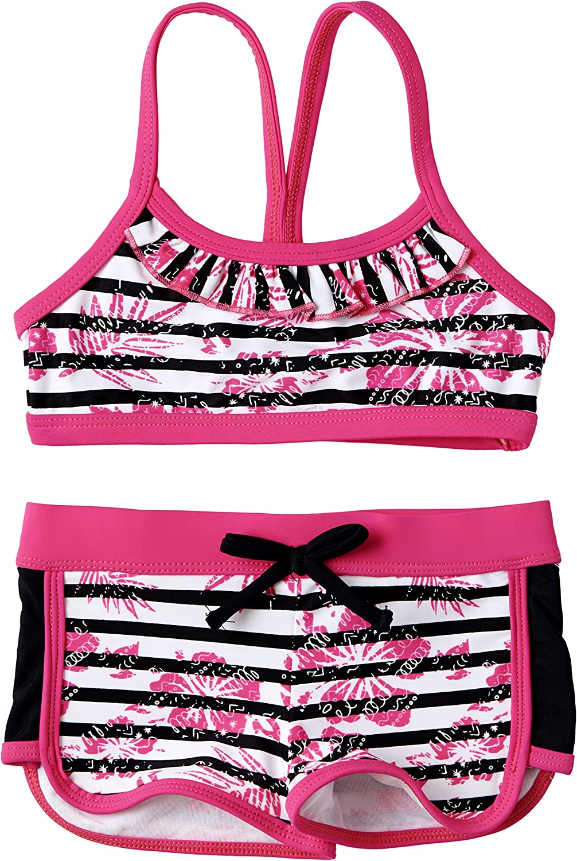 Size 4 Big Chill Little Girls UV Protection Two Piece Bikini Swimsuit and Rashguard Set Black