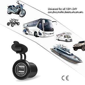Rydonair Aluminum 4.2A Dual USB Charger Socket Power Outlet 2.1A & 2.1A for Marine, Boat, Car, Golf Cart, RV,UTV, ATV, etc (Non Illuminated) (Color: W/O LED BLACK)