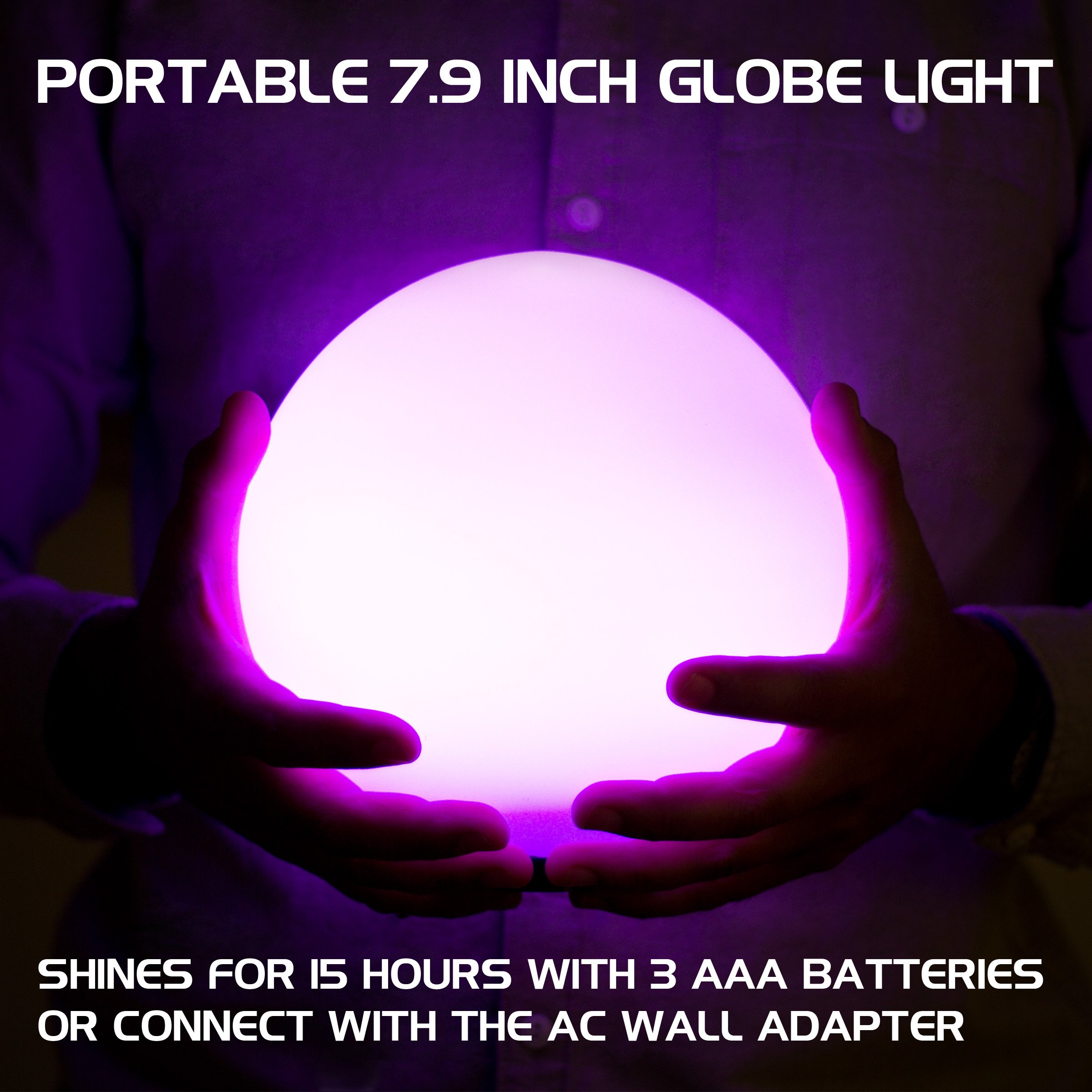 ENHANCE LED Globe Night Light Ambient Color Changing Premium Glass Mood Lamp with Remote Control - 7.9 inch 4 Lighting Modes & Battery or AC Adapter Power - Perfect for Children & Adults by ENHANCE (Image #3)