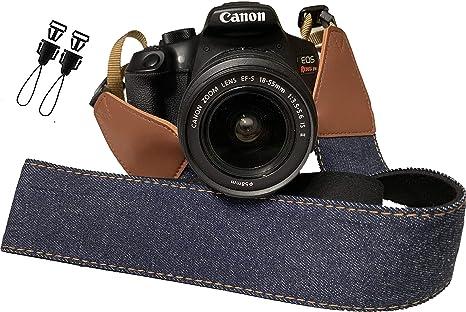 Correa de cámara con jeans azules para cámaras DSLR: Amazon.es ...