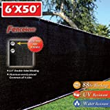 6' x 50' 3rd Gen Black Fence Privacy Screen Windscreen Shade Fabric Mesh Tarp (Aluminum Grommets) by Fence4ever