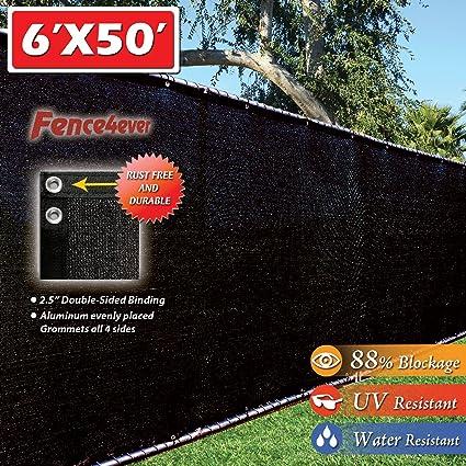 Fence4ever 6u0027 X 50u0027 3rd Gen Black Fence Privacy Screen Windscreen Shade  Fabric Mesh