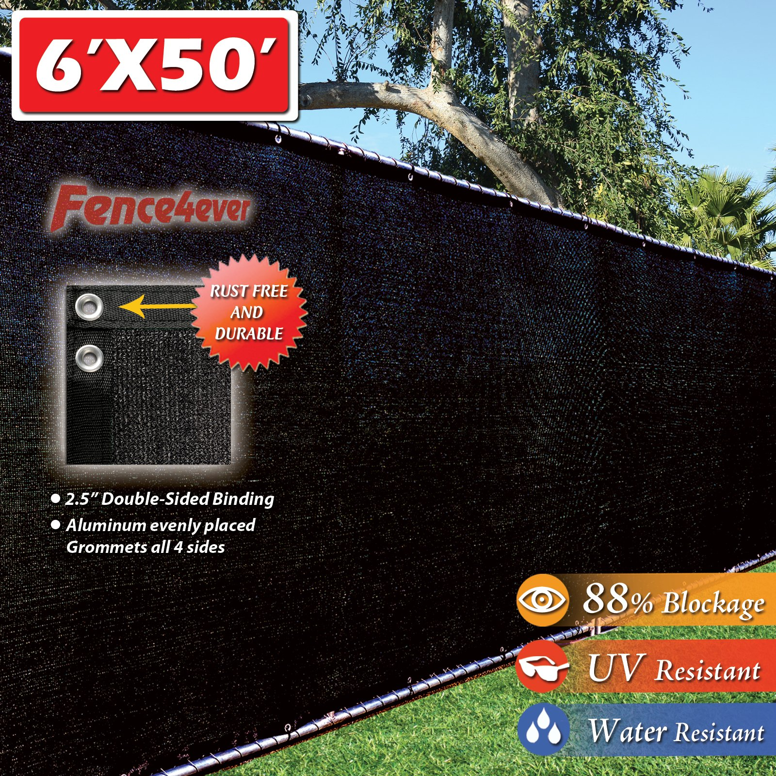 Fence4ever 6' x 50' 3rd Gen Black Fence Privacy Screen Windscreen Shade Fabric Mesh Netting Tarp (Aluminum Grommets)