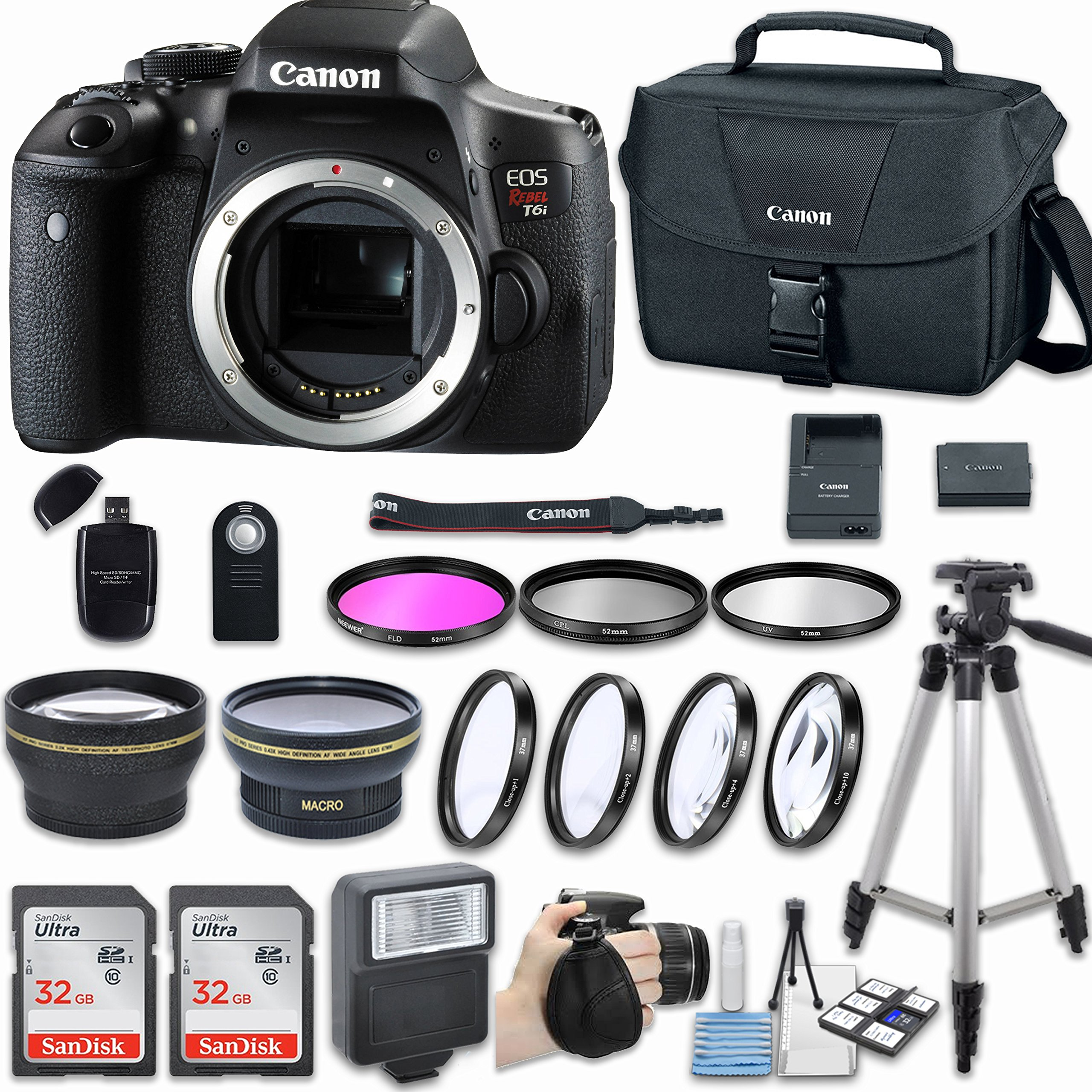 Canon EOS Rebel T6i DSLR Camera (Body Only) with Bundle - Includes 58mm HD Wide Angle Lens + 2.2x Telephoto + 2Pcs 32GB Sandisk SD Memory + Filter & Macro Kit & More Accessories by Canon