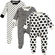 Touched by Nature Unisex Baby Organic Cotton Sleep and Play, Heart 3-Pack, 0-3 Months (3M)