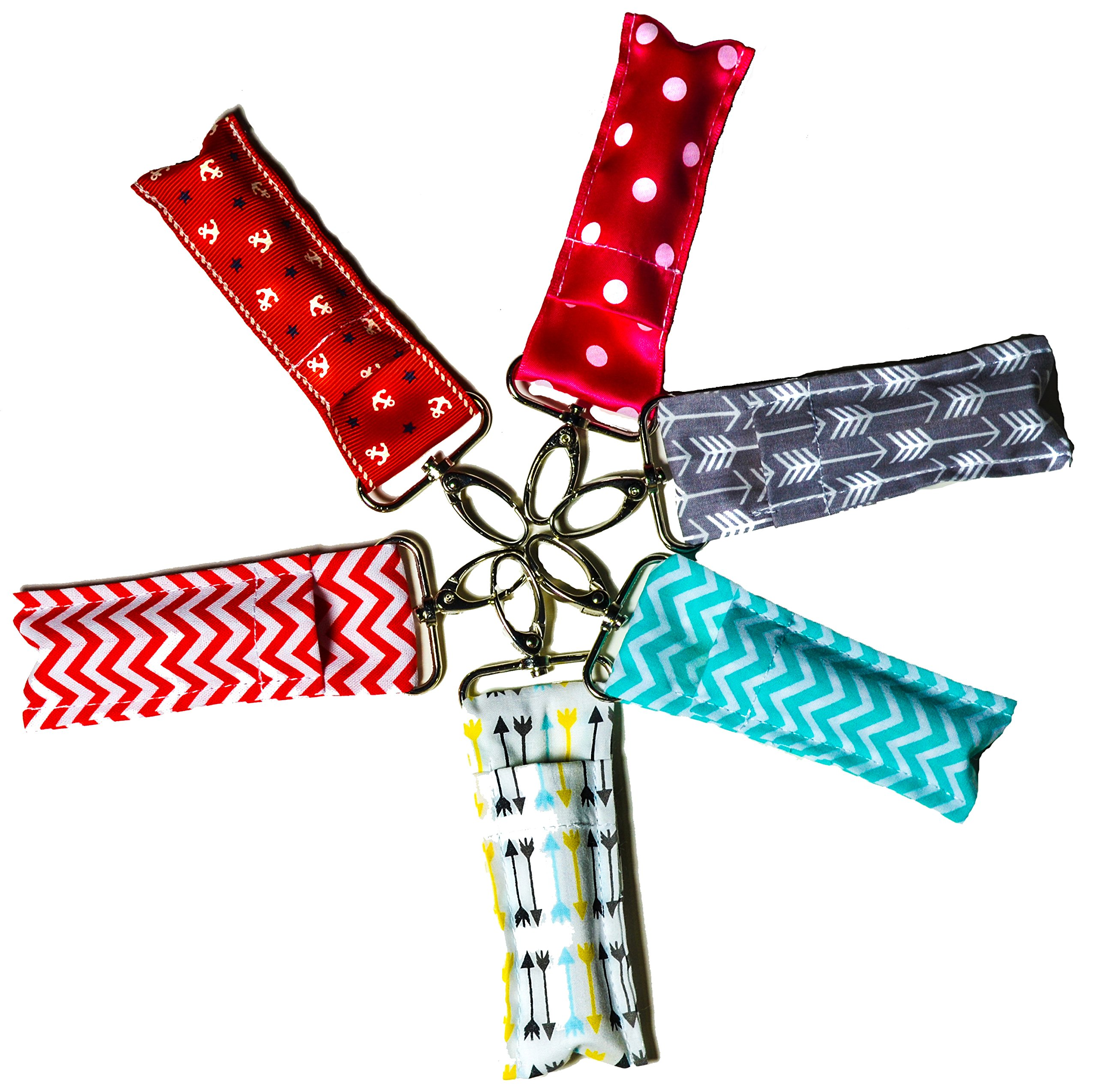 Chapstick Keychain Pouch Lanyard Strap Fob Set of 6 Arrows Chevrons Dots Native