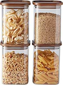 Essos Square Glass Jars with Wood Lids Set of (4) 47 fl oz Airtight and Stackable Storage Containers for Kitchen Pantry Wooden Lid BPA Free and Recyclable Canister for Food Cookies Coffee Pasta Sugar