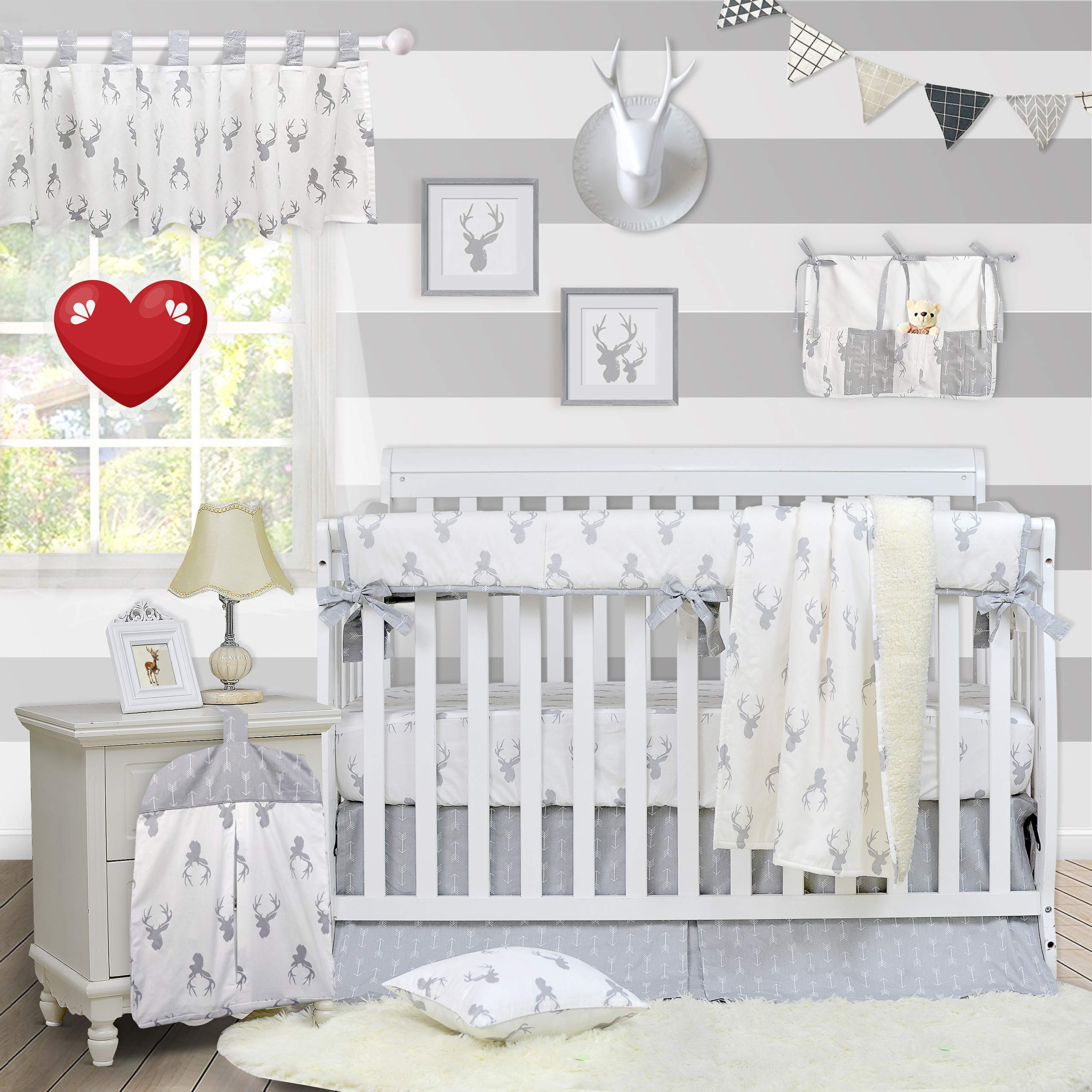 Brandream Crib Bedding Sets Neutral Baby Boy Girl Nursery Crib Bedding Woodland Arrow Deer Head Pattern White Gray Grey (9 Pieces Crib Bedding Set with Crib Rail Cover) by Brandream