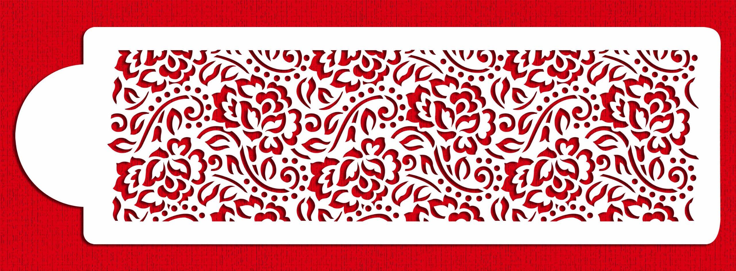 Designer Stencils C869 Chantilly Lace 1 Cake Side Stencil, Beige/Semi-Transparent