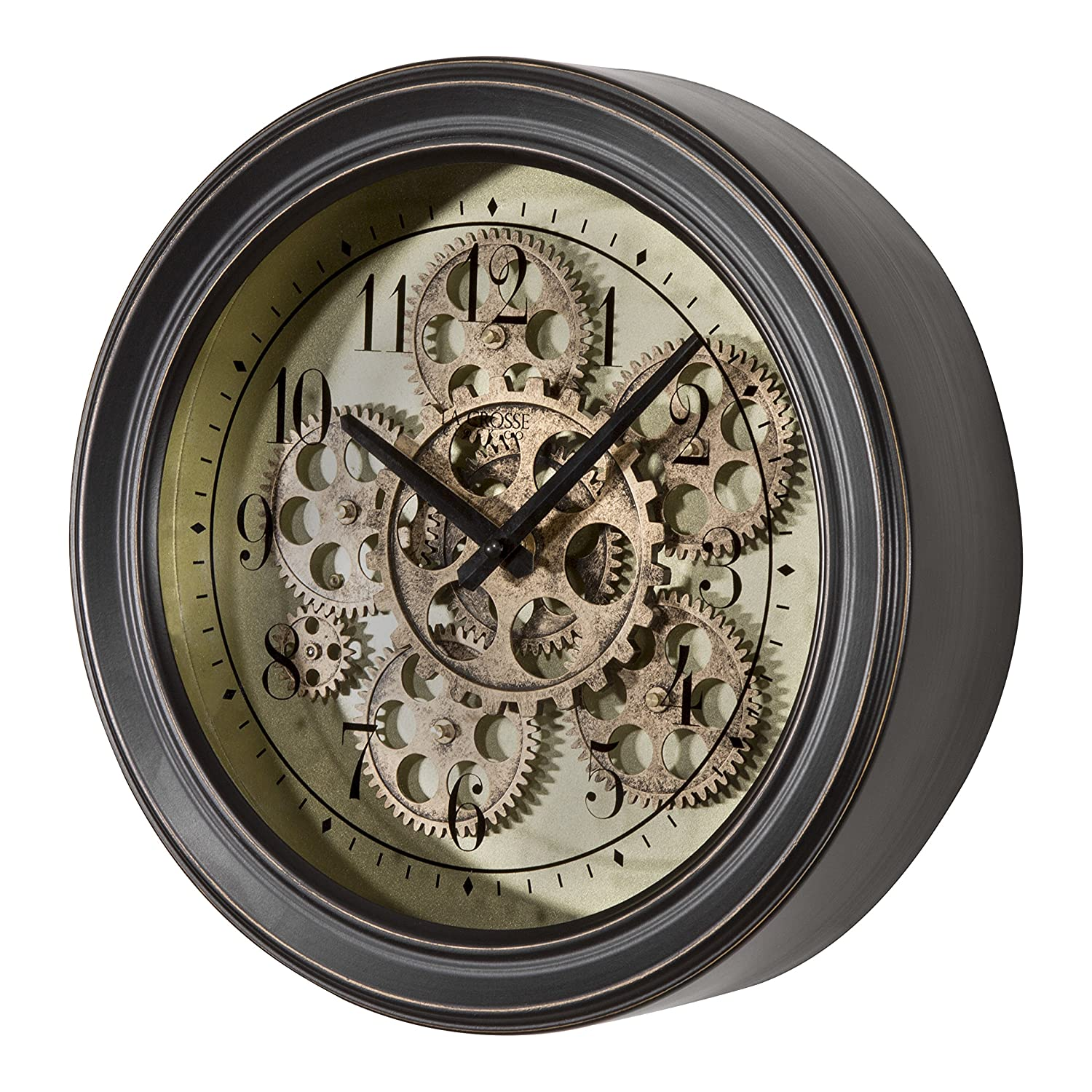 Amazon.com: Lacrosse BBB85289 13 in. Metal Clock with Working Gears ...