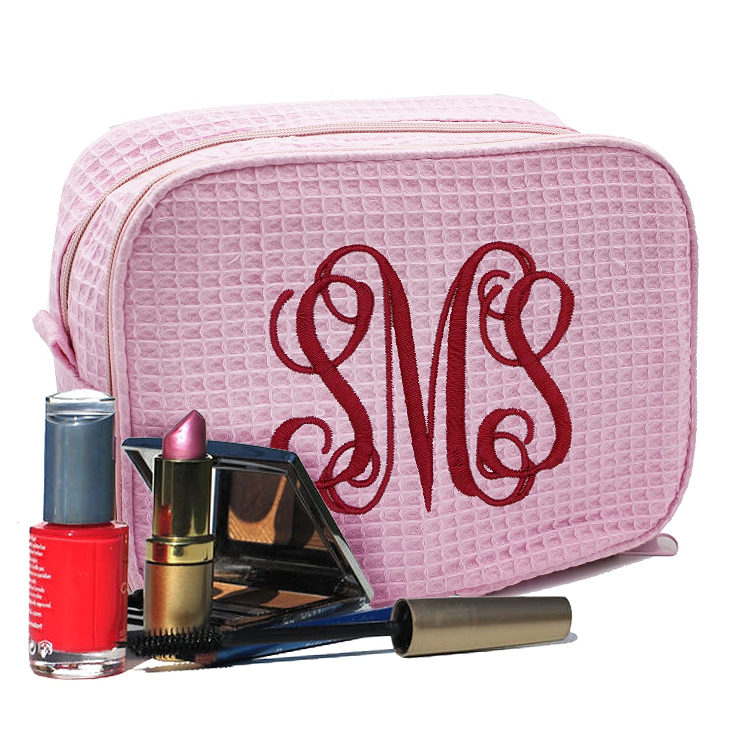 Personalized Makeup Bag - Bridesmaid Gift Make Up Cosmetic Case - Monogrammed and Embroidered for Free (Pink)