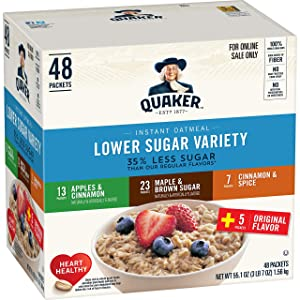 Quaker Instant Oatmeal, Lower Sugar, Variety Pack, Breakfast Cereal, 48 Counts
