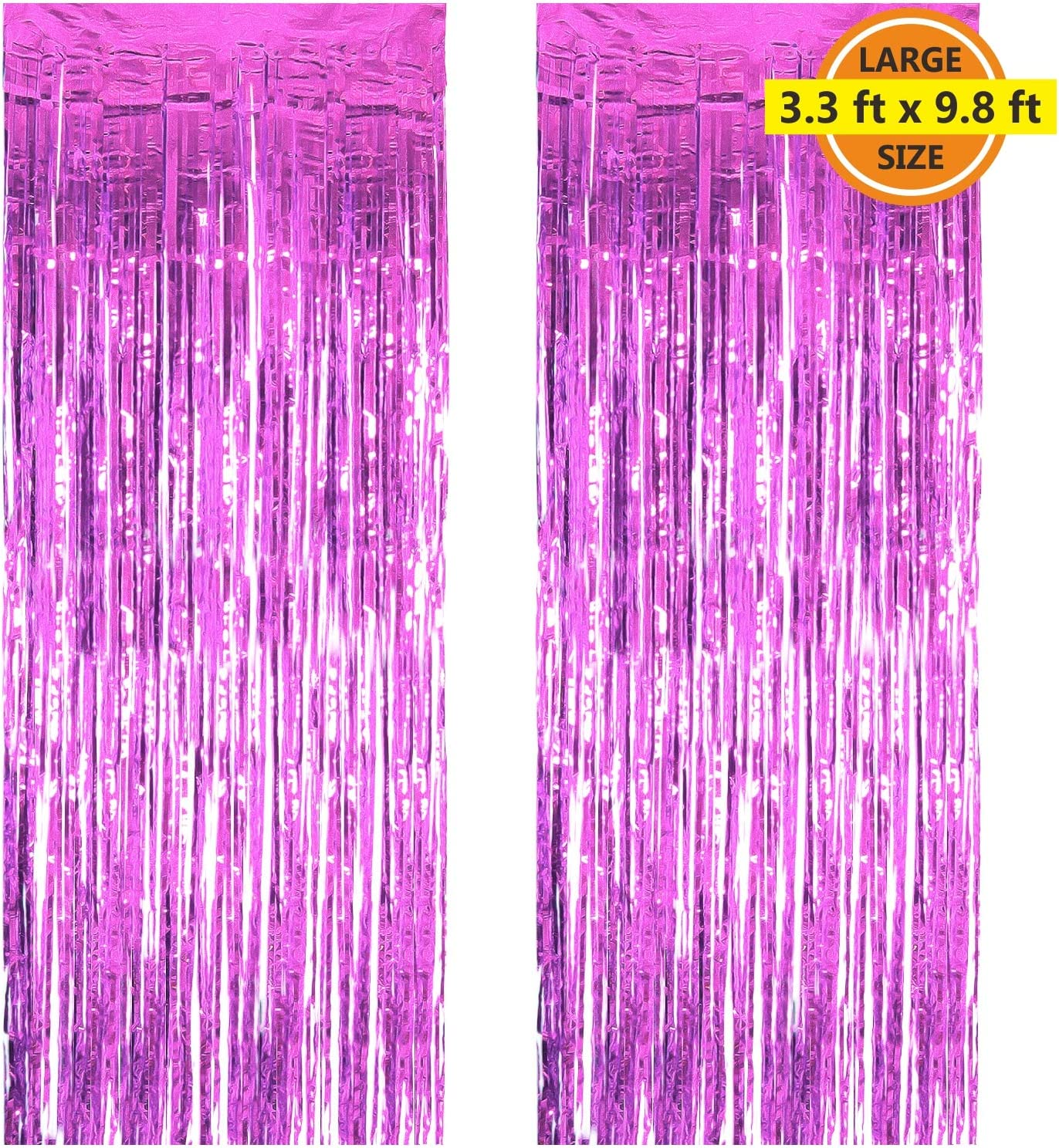 2 Pack 3.3 ft x 9.8 ft Foil Curtains Metallic Fringe Curtains Shimmer Curtain Photo Backdrop for Halloween Christmas Birthday Party Wedding Decor (Pink)