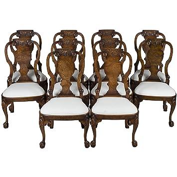 Merveilleux Queen Anne Dining Chairs In Burl Walnut