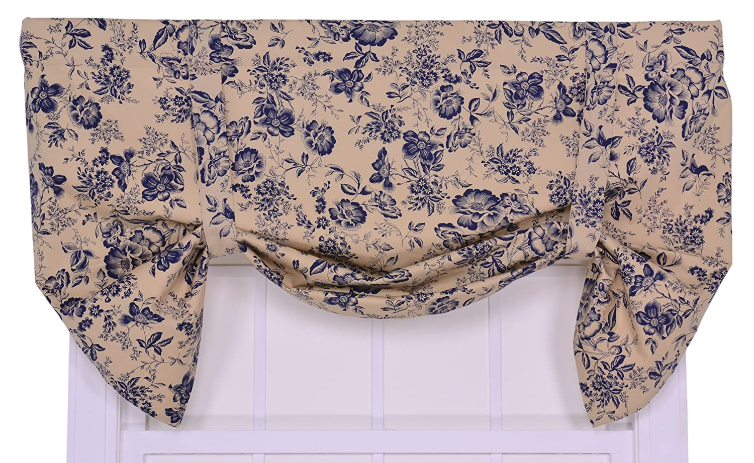 Ellis Curtain Palmer Floral Toile Lined Tie-Up Valance Window Curtain, Navy 730462384829