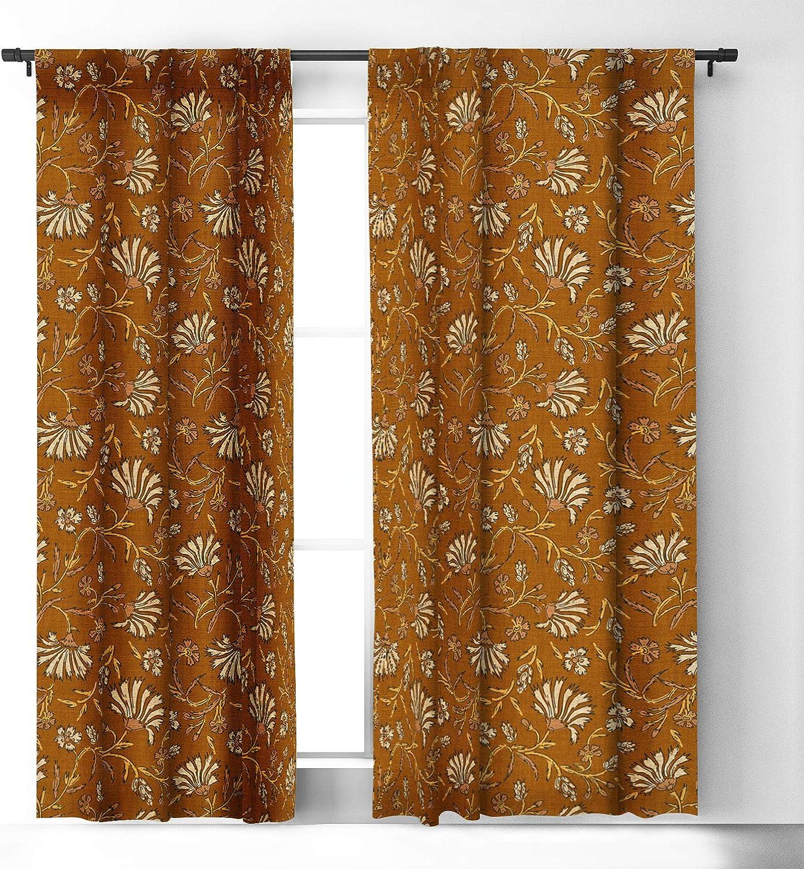 Deny Designs Holli Zollinger Kalami Floral Mustard Blackout Window Curtain 50 X 84 Yellow Amazon Ca Home Kitchen