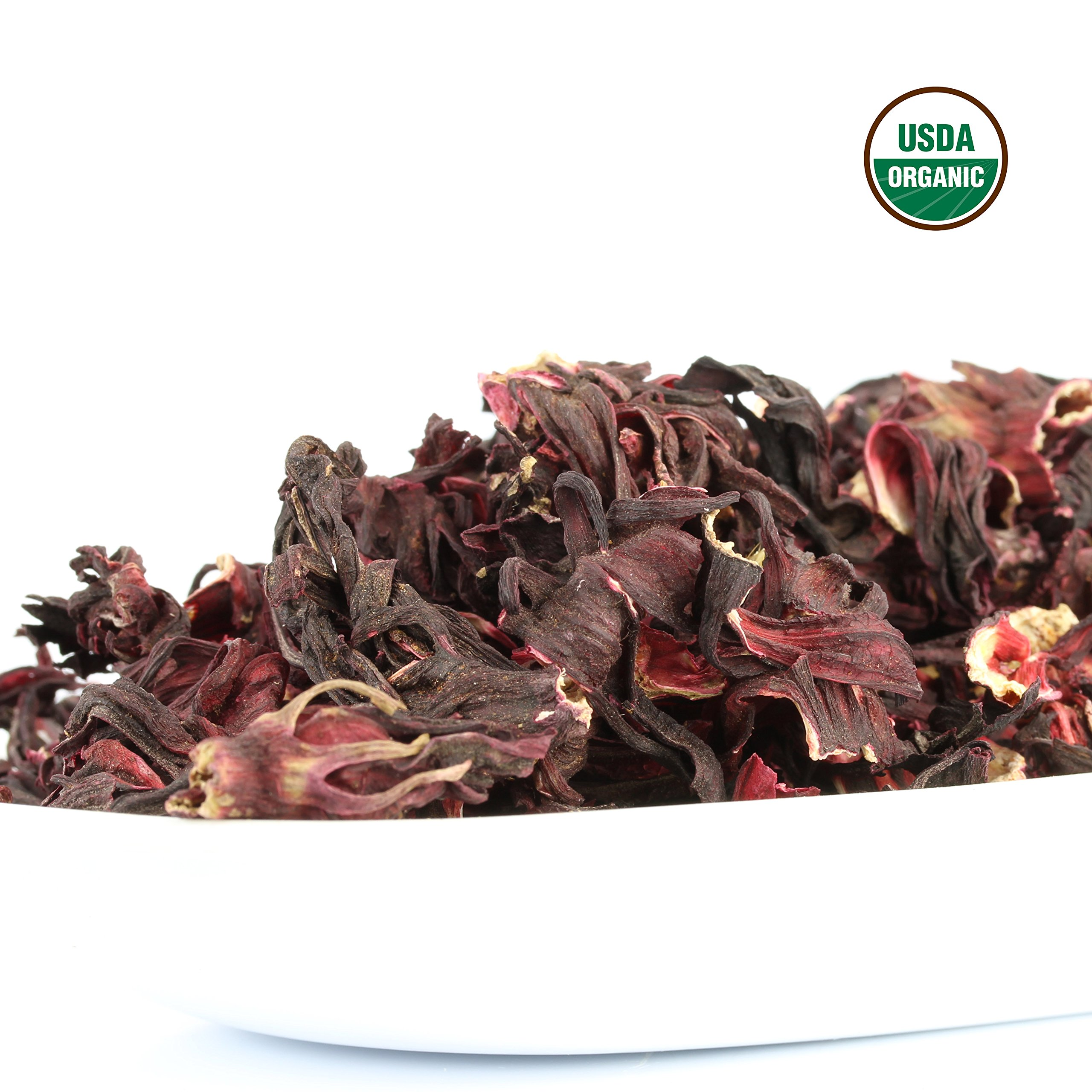 Hibiscus Tea 1LB (16Oz) 100% CERTIFIED Organic Hibiscus Flowers Herbal Tea (WHOLE PETALS), Caffeine Free in 1 lbs. Bulk Resealable Kraft BPA free Bags from U.S. Wellness by U.S. Wellness Naturals (Image #5)