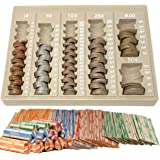 Coin Counter and Sorters Money Tray – Bundled with 64 Coin Roll Wrappers – 6 Storage Compartment Change Counter Organizer and