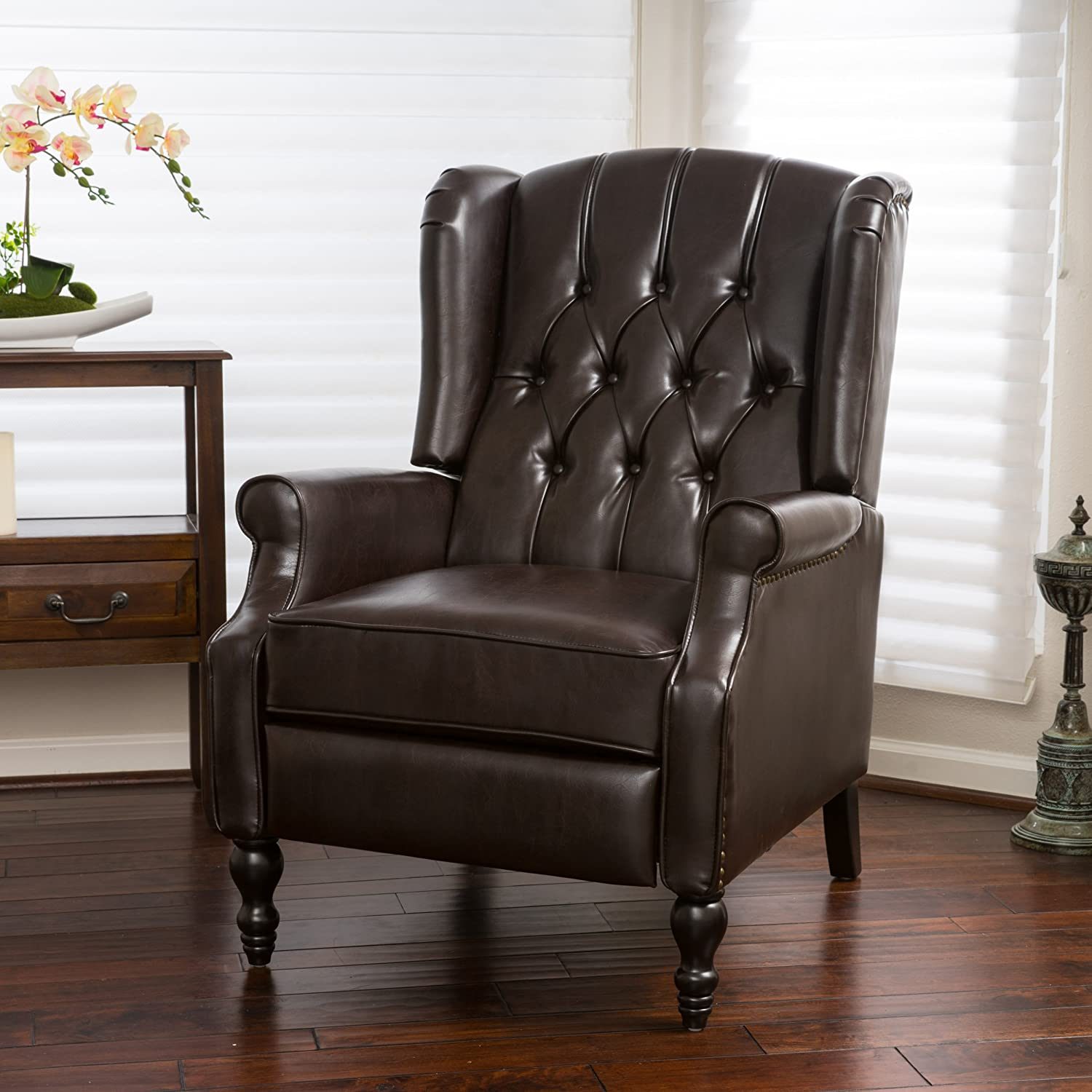 Elizabeth Tufted Brown Bonded Leather Recliner Arm Chair