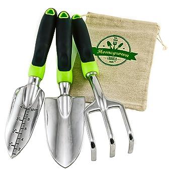 3 Piece Gardening Tool Set From Homegrown Garden Tools; Large Ergonomic  Handles; Trowel