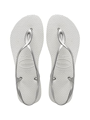43a758cfbc19 Havaianas Luna White Silver Strap Women Flip Flops Thongs Brazil Rubber  Sandals Beach (BR 39