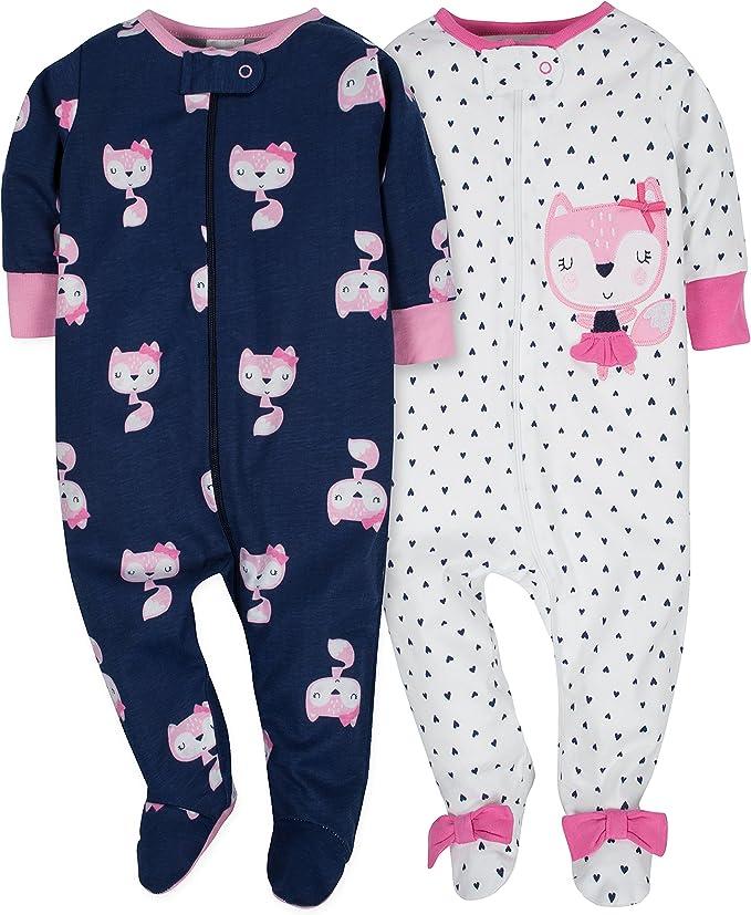 Gerber Baby Girls 2 Pack Zip Front Sleep n Play,Elephant,NB
