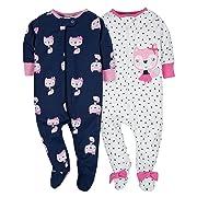 Gerber Baby Girls' 2 Pack Zip Front Sleep 'n Play,Pink Fox,3-6