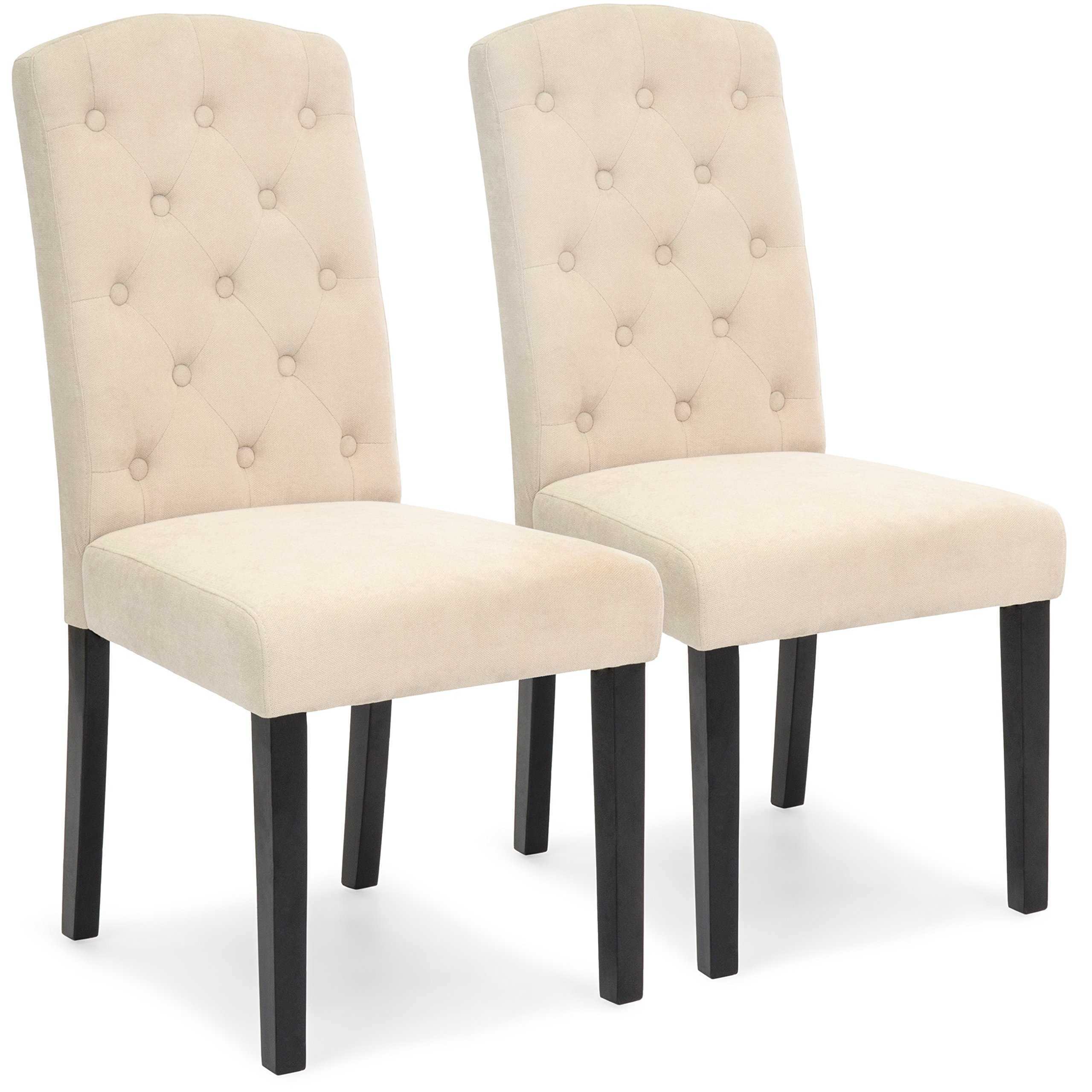 Best Choice Products Set of 2 Tufted Fabric Parsons Dining Chairs Home Furniture for Dining and Living Room - Beige by Best Choice Products