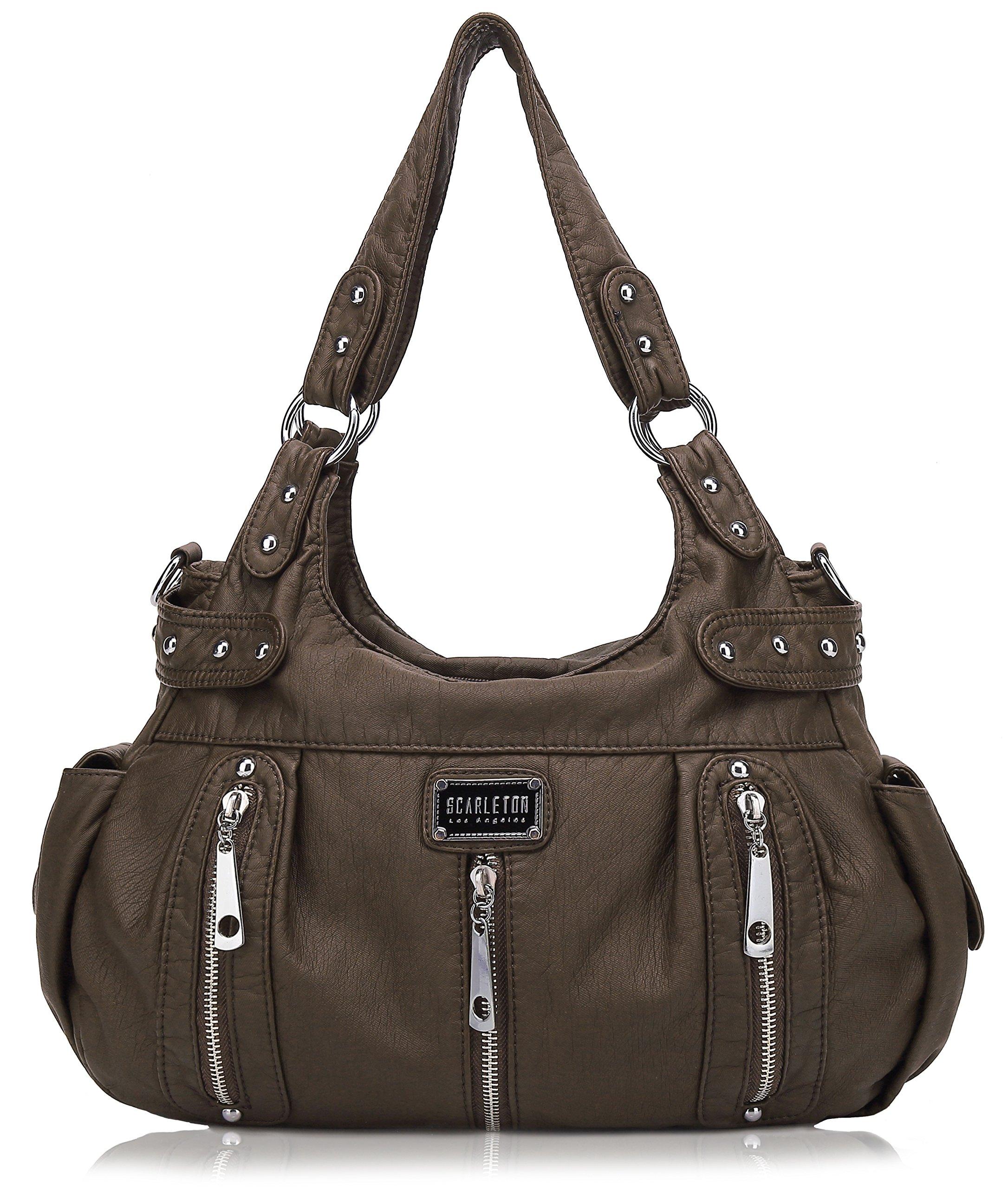 Scarleton 3 Front Zipper Shoulder Bag H129221 - Coffee