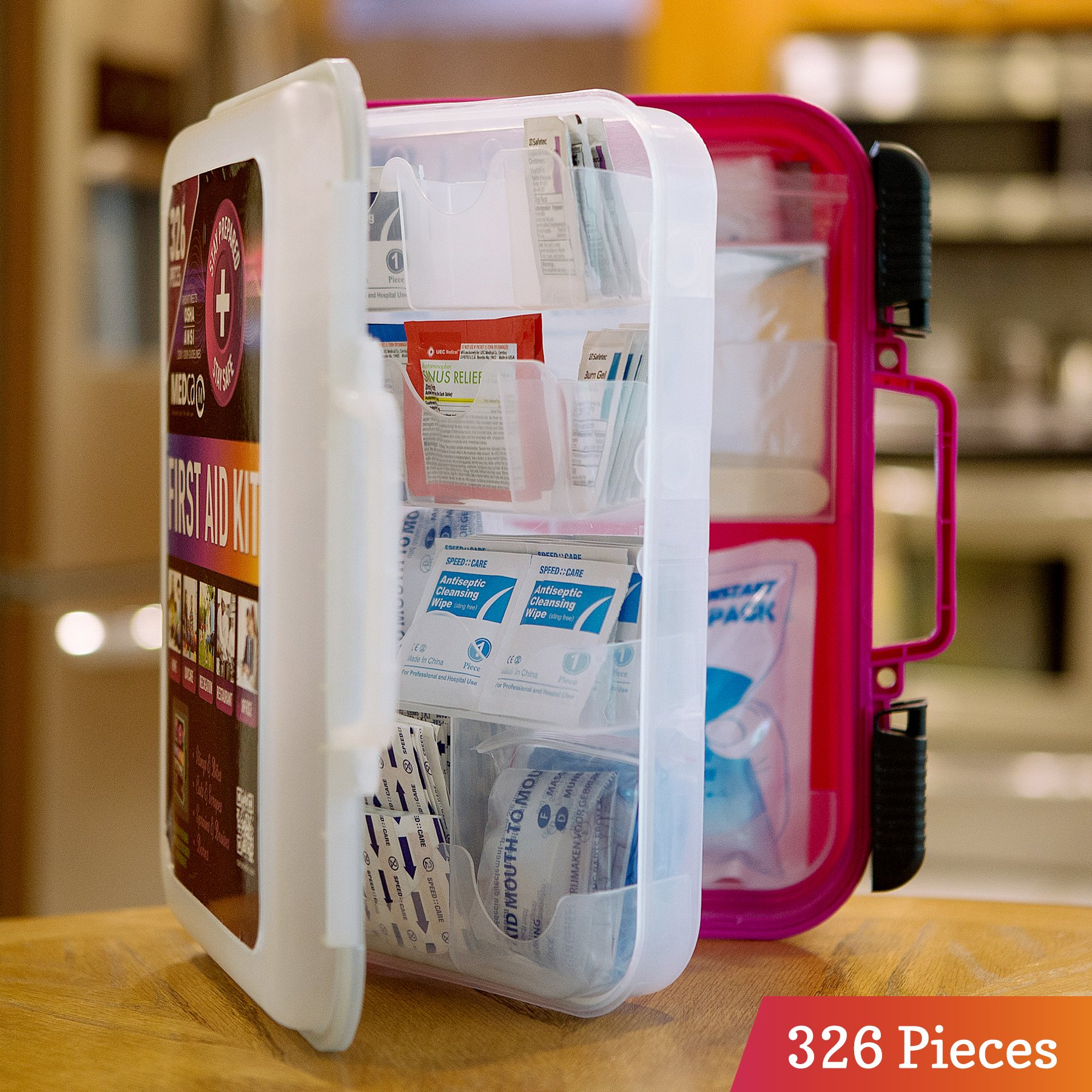 First Aid Kit - Emergency First Aid Kit and Medical Kit Exceeds ANSI Z308.1-2009 OSHA Standards, Hard Case, Wall Mount & Glows in The Dark for Offices, Home, Schools, Daycare, Construction Sites by MEDca (Image #4)