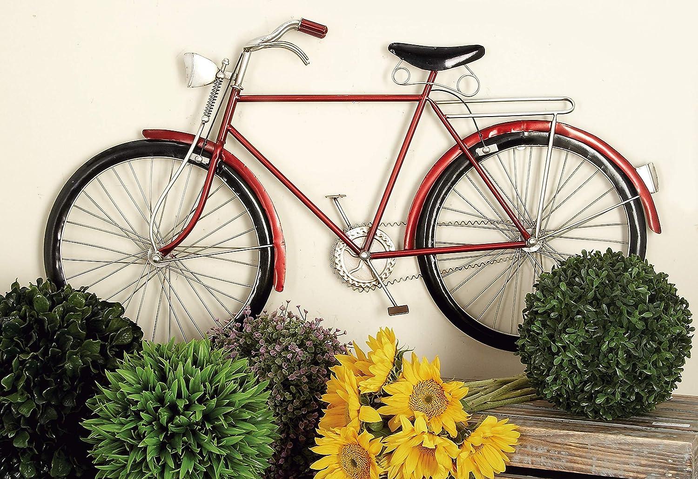 Deco 79 65528 Metal Red Bike Wall Art
