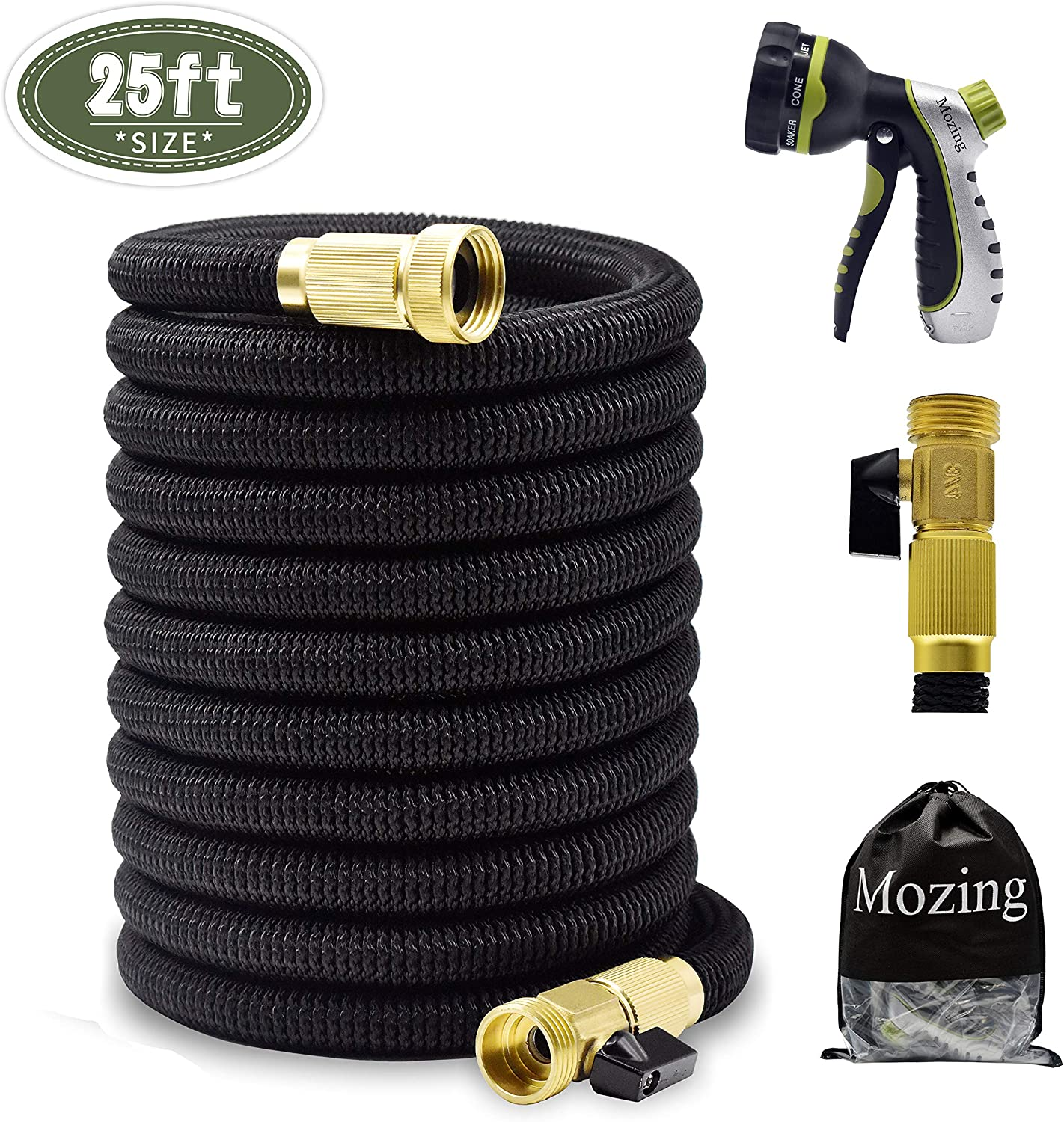 Mozing 25ft Expandable Garden Hose - Upgraded Water Hose with & 3/4 Solid Brass Fittings & Premium 8 Functions Hose Nozzle