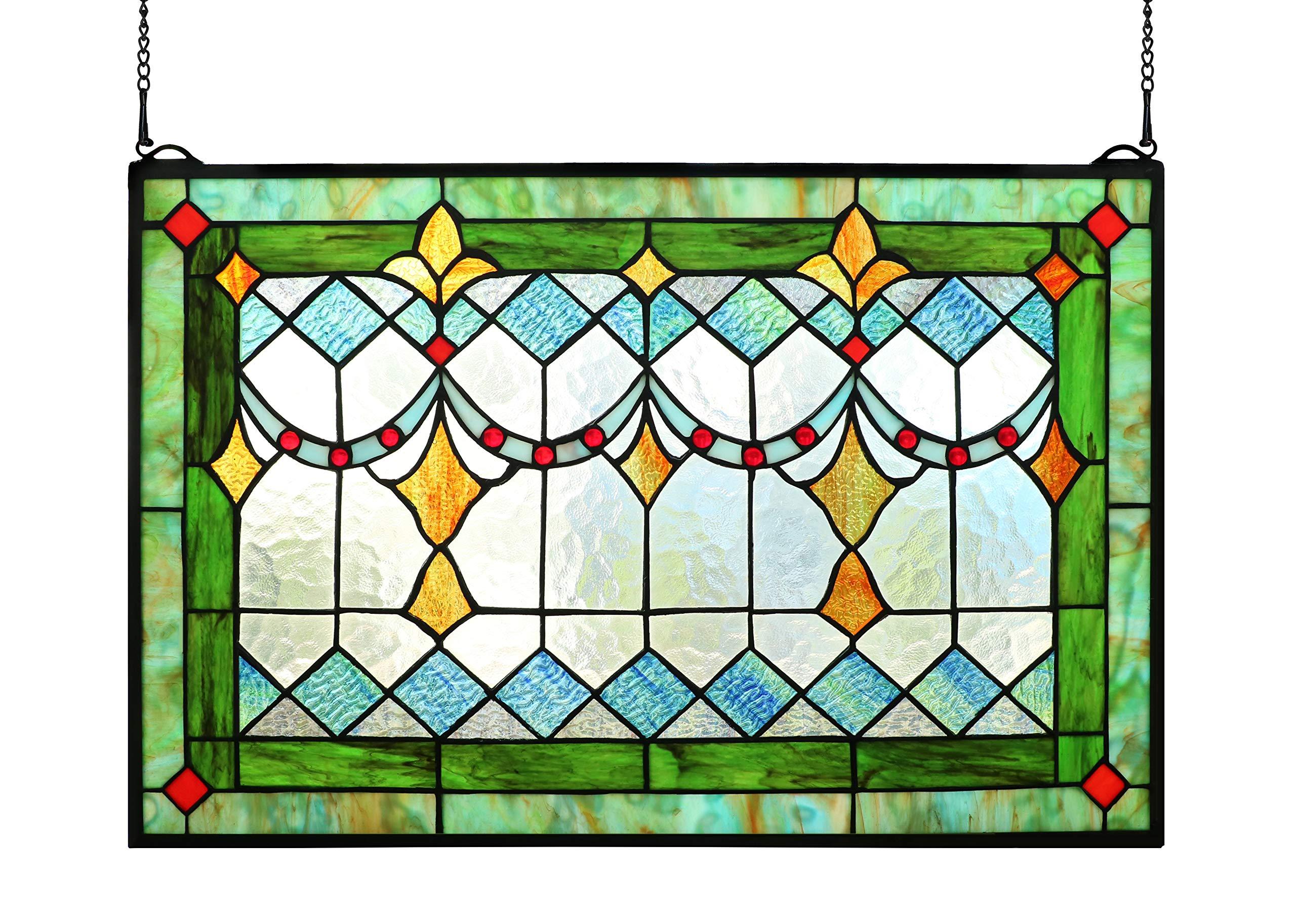 Yolic Tiffany Style Stained Glass Green Window/Wall Panels 24'' X 16''