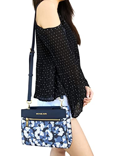 411c491e5ee5 Michael Kors Hailee East West Crossbody Bag Navy MK Signature White Floral   Handbags  Amazon.com