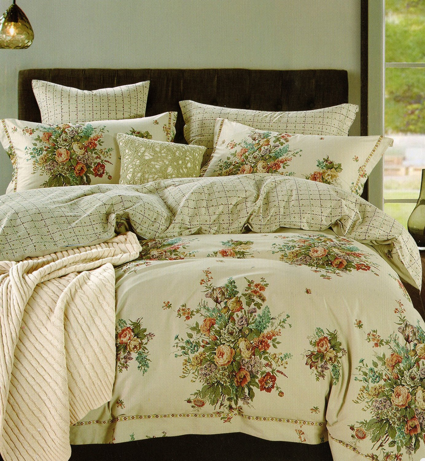 Reversible Floral Bedding King Khaki Tan